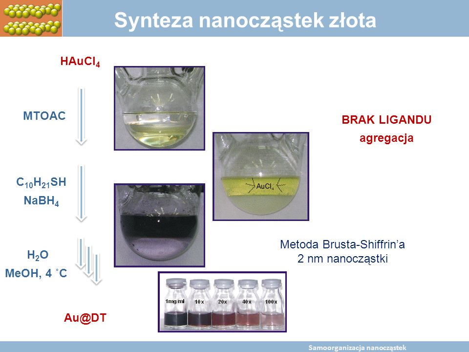 BaltChem Conference April 5, 2009 Metal nanoparticles self assembly Synteza nanocząstek złota HAuCl 4 MTOAC C 10 H 21 SH NaBH 4 H2OH2O MeOH, 4 ˚C Au@D