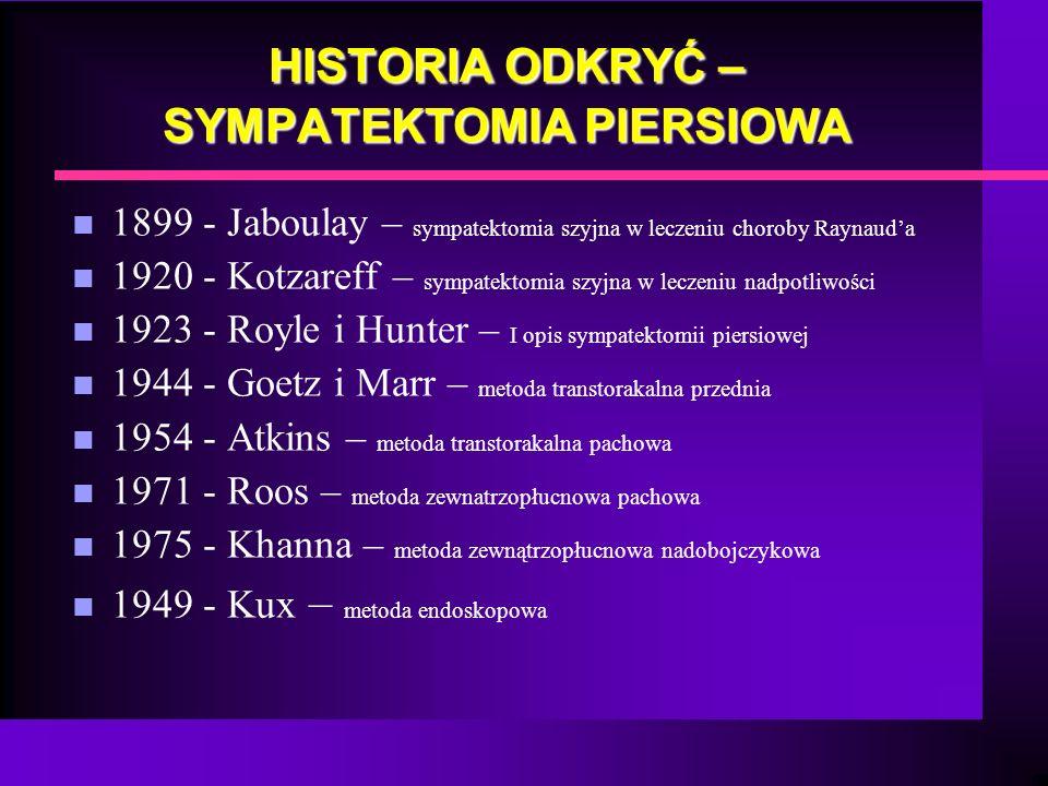 HISTORIA ODKRYĆ – SYMPATEKTOMIA PIERSIOWA n 1899 - Jaboulay – sympatektomia szyjna w leczeniu choroby Raynauda n 1920 - Kotzareff – sympatektomia szyj