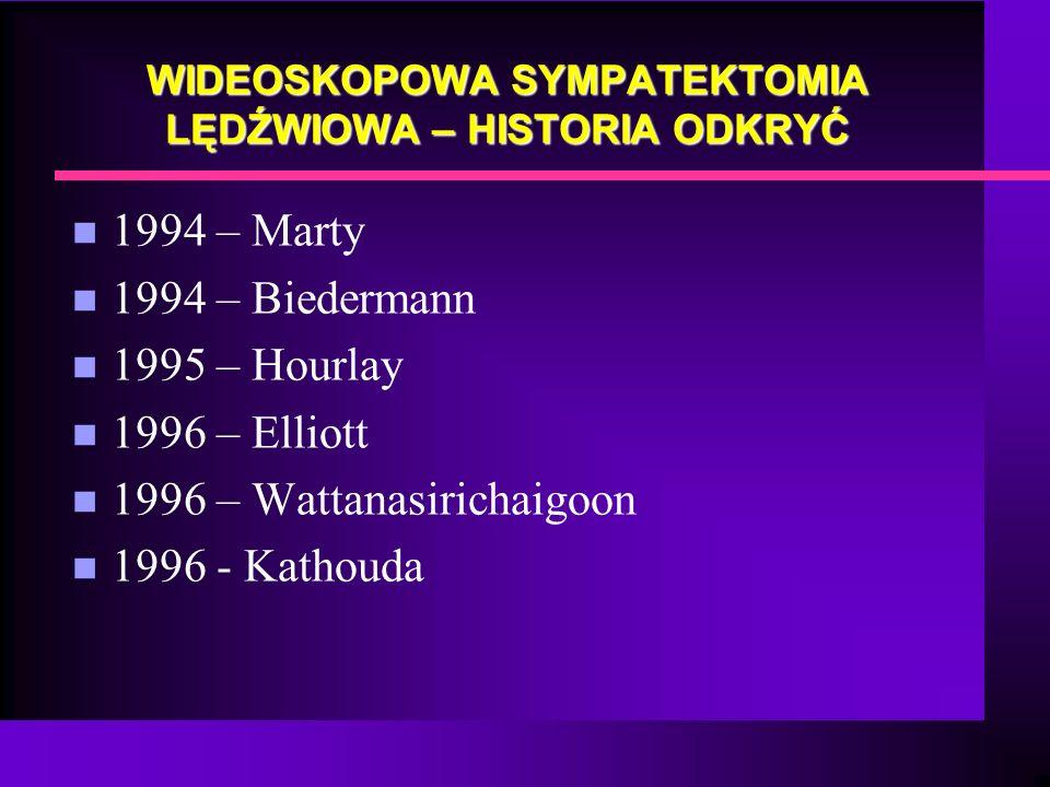 WIDEOSKOPOWA SYMPATEKTOMIA LĘDŹWIOWA – HISTORIA ODKRYĆ n 1994 – Marty n 1994 – Biedermann n 1995 – Hourlay n 1996 – Elliott n 1996 – Wattanasirichaigo