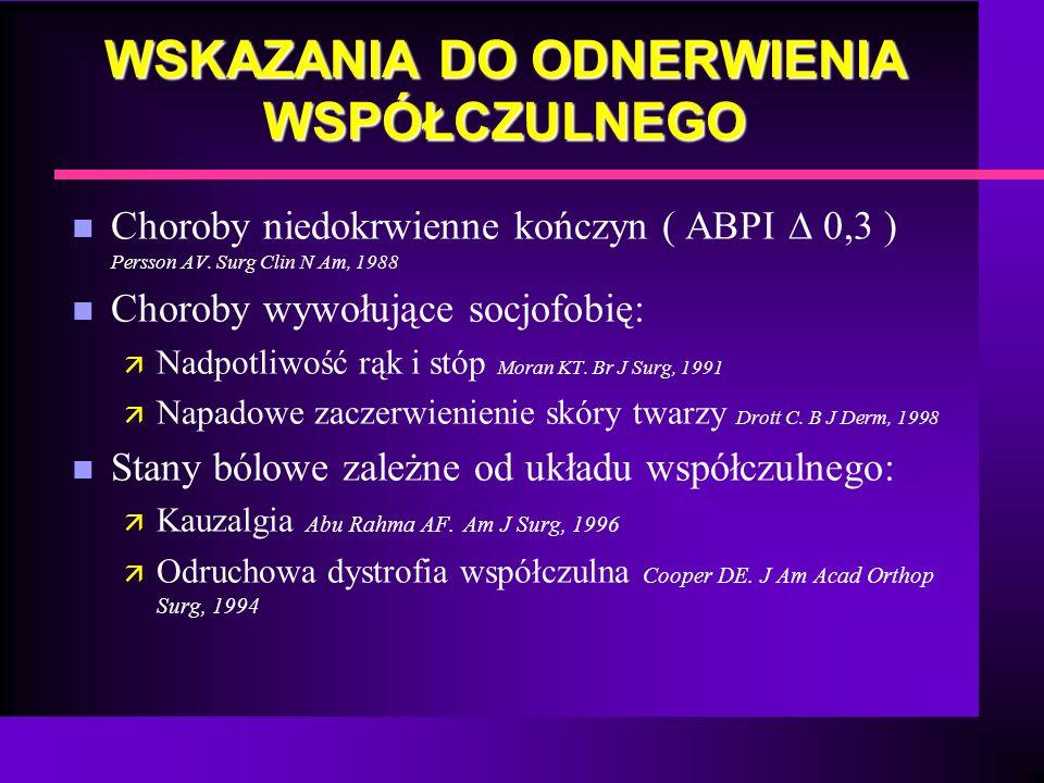 WSKAZANIA DO ODNERWIENIA WSPÓŁCZULNEGO n Choroby niedokrwienne kończyn ( ABPI 0,3 ) Persson AV. Surg Clin N Am, 1988 n Choroby wywołujące socjofobię: