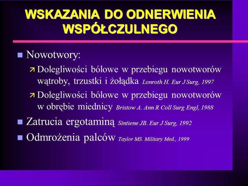 WSKAZANIA DO ODNERWIENIA WSPÓŁCZULNEGO n Nowotwory: ä Dolegliwości bólowe w przebiegu nowotworów wątroby, trzustki i żołądka Lonroth H. Eur J Surg, 19