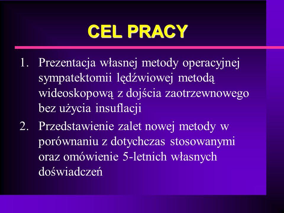 CEL PRACY 1. Prezentacja własnej metody operacyjnej sympatektomii lędźwiowej metodą wideoskopową z dojścia zaotrzewnowego bez użycia insuflacji 2. Prz
