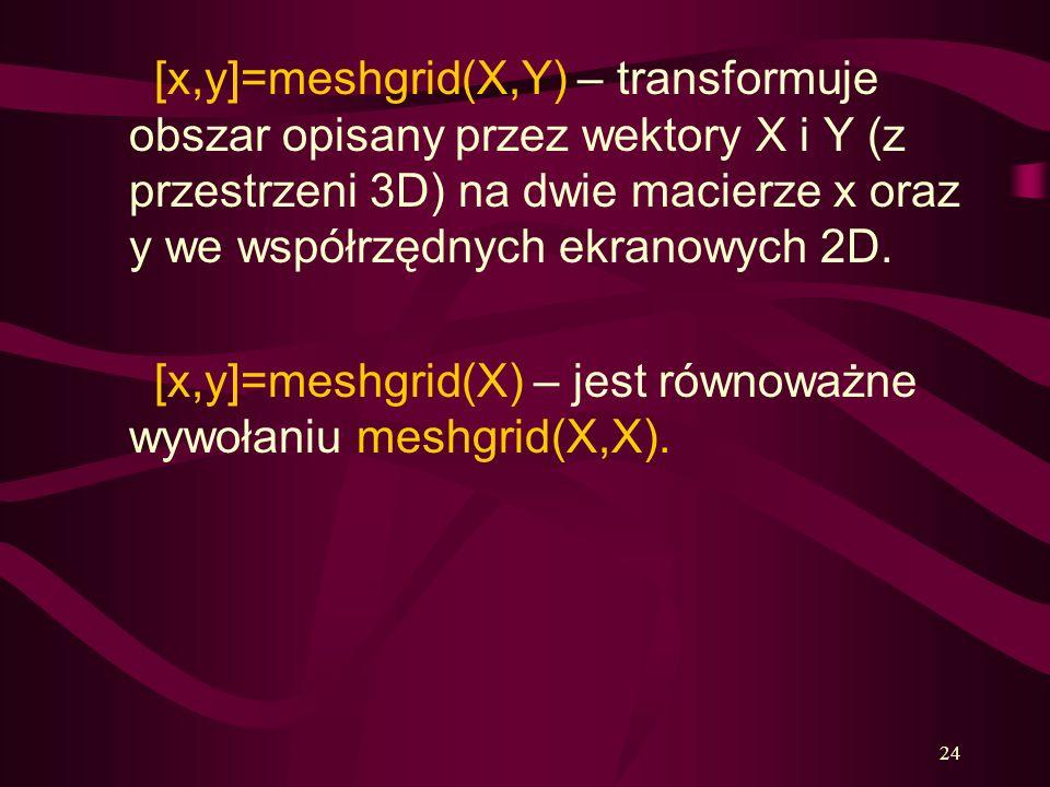 24 [x,y]=meshgrid(X,Y) – transformuje obszar opisany przez wektory X i Y (z przestrzeni 3D) na dwie macierze x oraz y we współrzędnych ekranowych 2D.