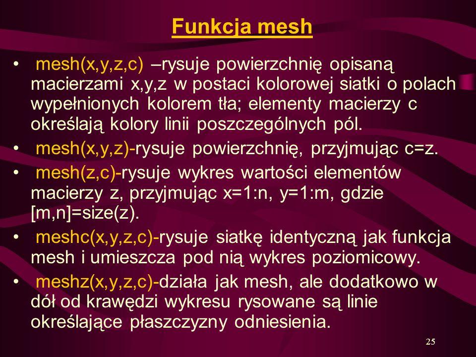 25 Funkcja mesh mesh(x,y,z,c) –rysuje powierzchnię opisaną macierzami x,y,z w postaci kolorowej siatki o polach wypełnionych kolorem tła; elementy mac