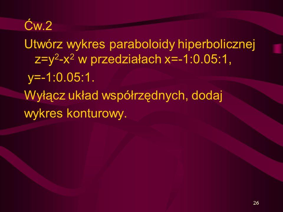 26 Ćw.2 Utwórz wykres paraboloidy hiperbolicznej z=y 2 -x 2 w przedziałach x=-1:0.05:1, y=-1:0.05:1. Wyłącz układ współrzędnych, dodaj wykres konturow