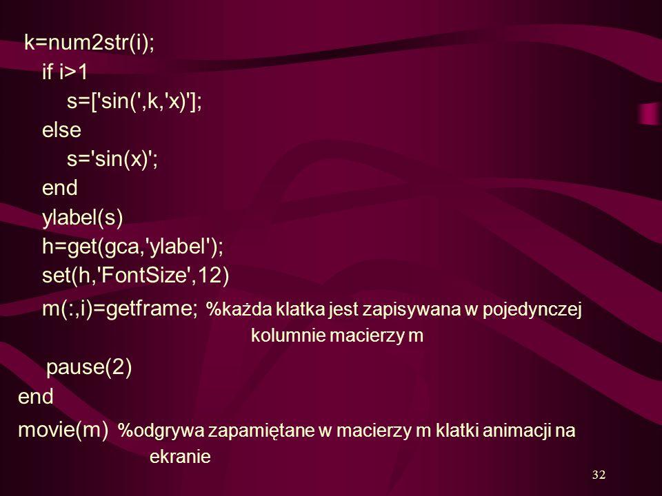 32 k=num2str(i); if i>1 s=['sin(',k,'x)']; else s='sin(x)'; end ylabel(s) h=get(gca,'ylabel'); set(h,'FontSize',12) m(:,i)=getframe; %każda klatka jes