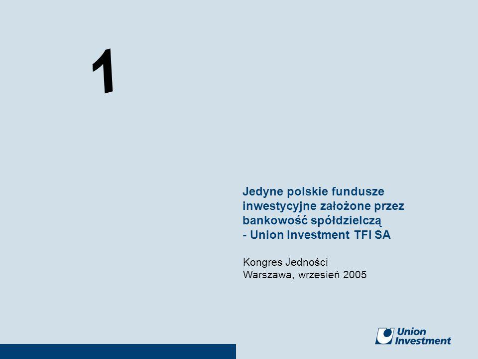 1 09.2005WW1 Kongres Jedności Warszawa, wrzesień 2005 Jedyne polskie fundusze inwestycyjne założone przez bankowość spółdzielczą - Union Investment TF