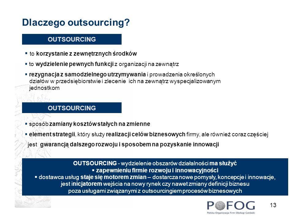 13 Dlaczego outsourcing? OUTSOURCING to korzystanie z zewnętrznych środków to wydzielenie pewnych funkcji z organizacji na zewnątrz rezygnacja z samod
