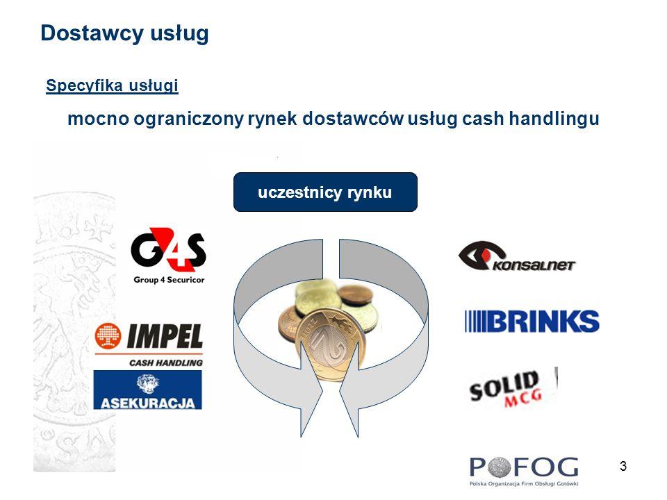 4 Odbiorcy usług cash handlingu Usługi cash handlingu adresowane są do instytucji z dużym przepływem strumieni gotówki wielkopowierzchniowe sieci supermarketów instytucje bankowe przemysł i instytucje publiczne sektor drobnego handlu i usług cash handling