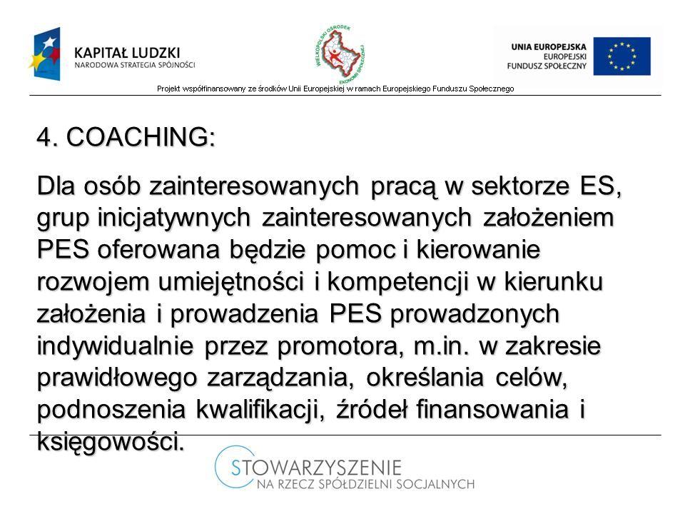 4. COACHING: Dla osób zainteresowanych pracą w sektorze ES, grup inicjatywnych zainteresowanych założeniem PES oferowana będzie pomoc i kierowanie roz
