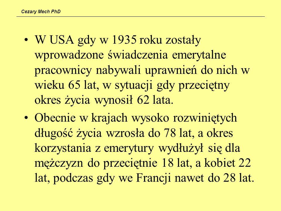 Cezary Mech PhD W USA gdy w 1935 roku zostały wprowadzone świadczenia emerytalne pracownicy nabywali uprawnień do nich w wieku 65 lat, w sytuacji gdy