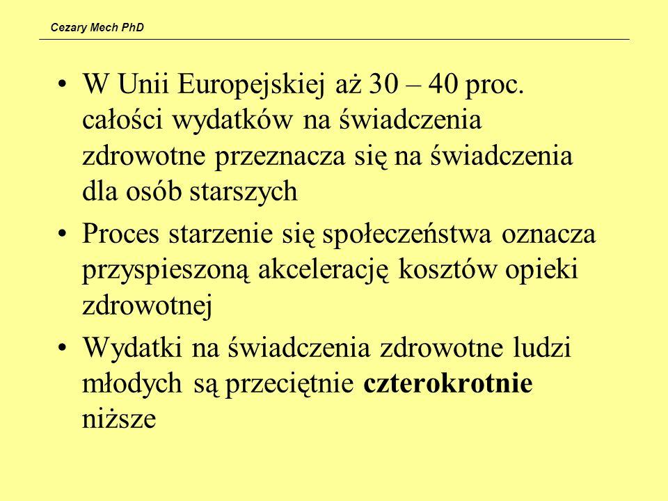 Cezary Mech PhD W Unii Europejskiej aż 30 – 40 proc. całości wydatków na świadczenia zdrowotne przeznacza się na świadczenia dla osób starszych Proces