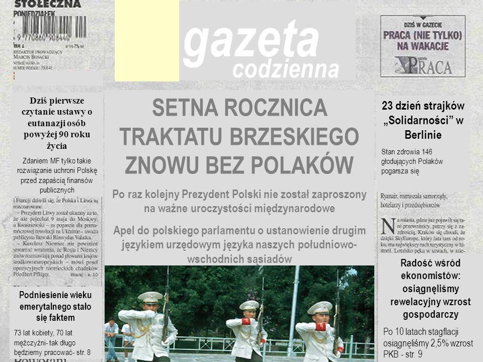 Cezary Mech PhD Gazeta SETNA ROCZNICA TRAKTATU BRZESKIEGO ZNOWU BEZ POLAKÓW Po raz kolejny Prezydent Polski nie został zaproszony na ważne uroczystośc
