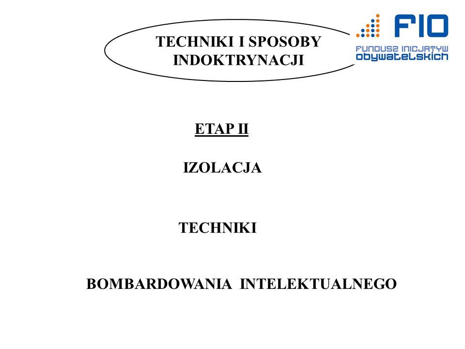 TECHNIKI I SPOSOBY INDOKTRYNACJI ETAP II IZOLACJA TECHNIKI BOMBARDOWANIA INTELEKTUALNEGO