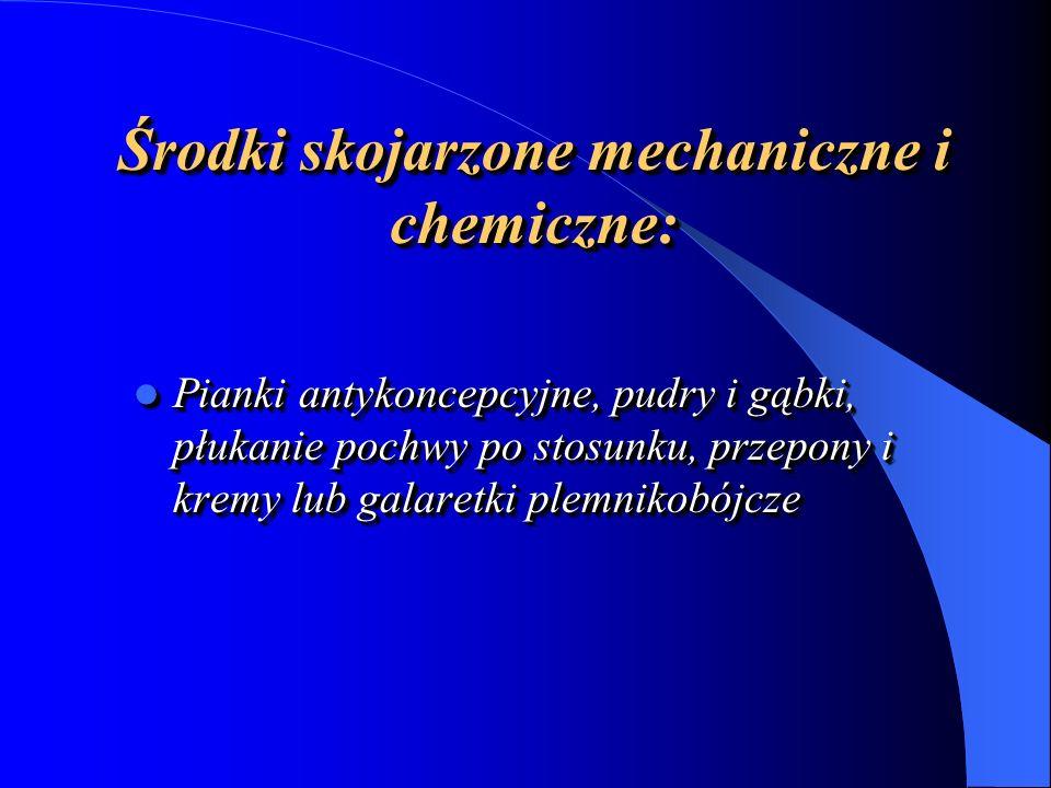 Środki skojarzone mechaniczne i chemiczne: Pianki antykoncepcyjne, pudry i gąbki, płukanie pochwy po stosunku, przepony i kremy lub galaretki plemnikobójcze Pianki antykoncepcyjne, pudry i gąbki, płukanie pochwy po stosunku, przepony i kremy lub galaretki plemnikobójcze