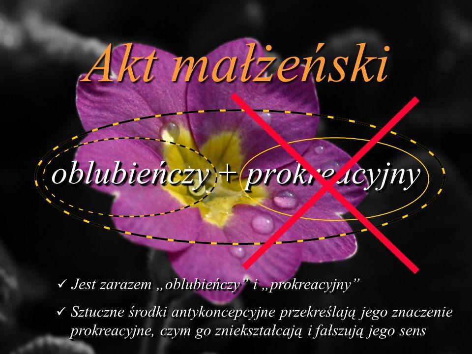 Akt małżeński oblubieńczy + prokreacyjny Jest zarazem oblubieńczy i prokreacyjny Jest zarazem oblubieńczy i prokreacyjny Sztuczne środki antykoncepcyjne przekreślają jego znaczenie prokreacyjne, czym go zniekształcają i fałszują jego sens Sztuczne środki antykoncepcyjne przekreślają jego znaczenie prokreacyjne, czym go zniekształcają i fałszują jego sens