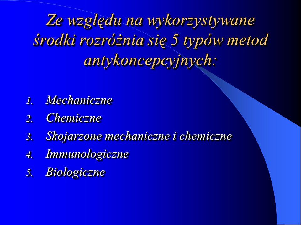 Środki mechaniczne – uniemożliwiają kontakt spermatozoidu z oocytem: prezerwatywy, błony; prezerwatywy, błony; środki prowadzące do zamknięcia światła kanału szyjki macicy – krążki pochwowe, przepony pochwowe; środki prowadzące do zamknięcia światła kanału szyjki macicy – krążki pochwowe, przepony pochwowe; wewnątrzmaciczne środki antykoncepcyjne.