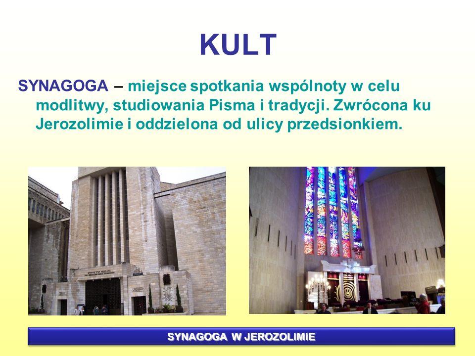 KULT SYNAGOGA – miejsce spotkania wspólnoty w celu modlitwy, studiowania Pisma i tradycji. Zwrócona ku Jerozolimie i oddzielona od ulicy przedsionkiem