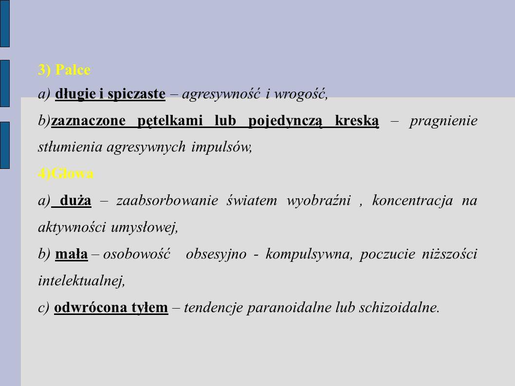 3) Palce a) długie i spiczaste – agresywność i wrogość, b)zaznaczone pętelkami lub pojedynczą kreską – pragnienie stłumienia agresywnych impulsów, 4)G