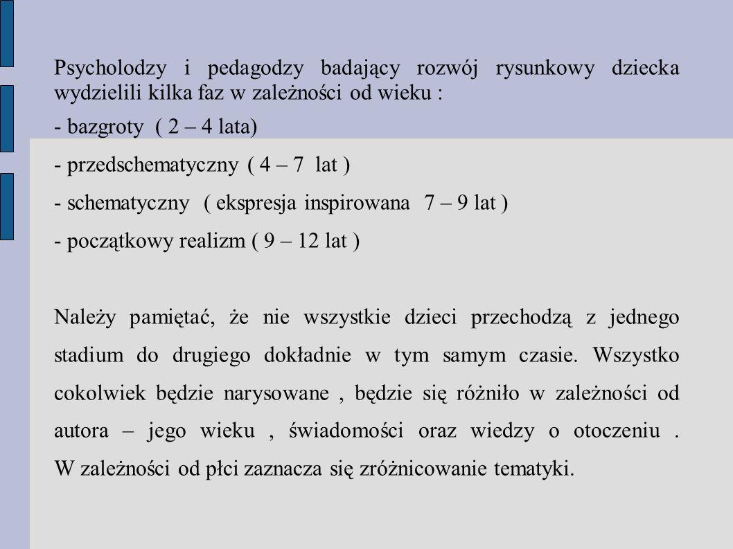 Psycholodzy i pedagodzy badający rozwój rysunkowy dziecka wydzielili kilka faz w zależności od wieku : - bazgroty ( 2 – 4 lata) - przedschematyczny (