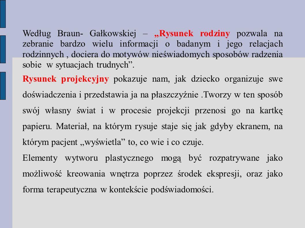 Według Braun- Gałkowskiej – Rysunek rodziny pozwala na zebranie bardzo wielu informacji o badanym i jego relacjach rodzinnych, dociera do motywów nieś