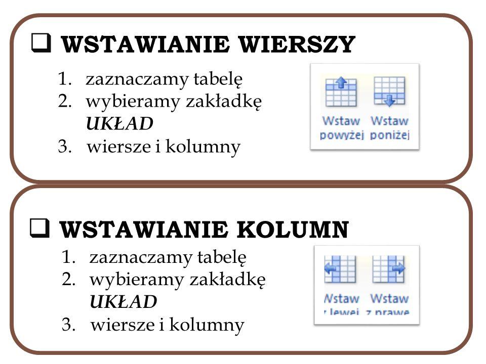 WSTAWIANIE WIERSZY 1.zaznaczamy tabelę 2.wybieramy zakładkę UKŁAD 3. wiersze i kolumny WSTAWIANIE KOLUMN 1.zaznaczamy tabelę 2.wybieramy zakładkę UKŁA