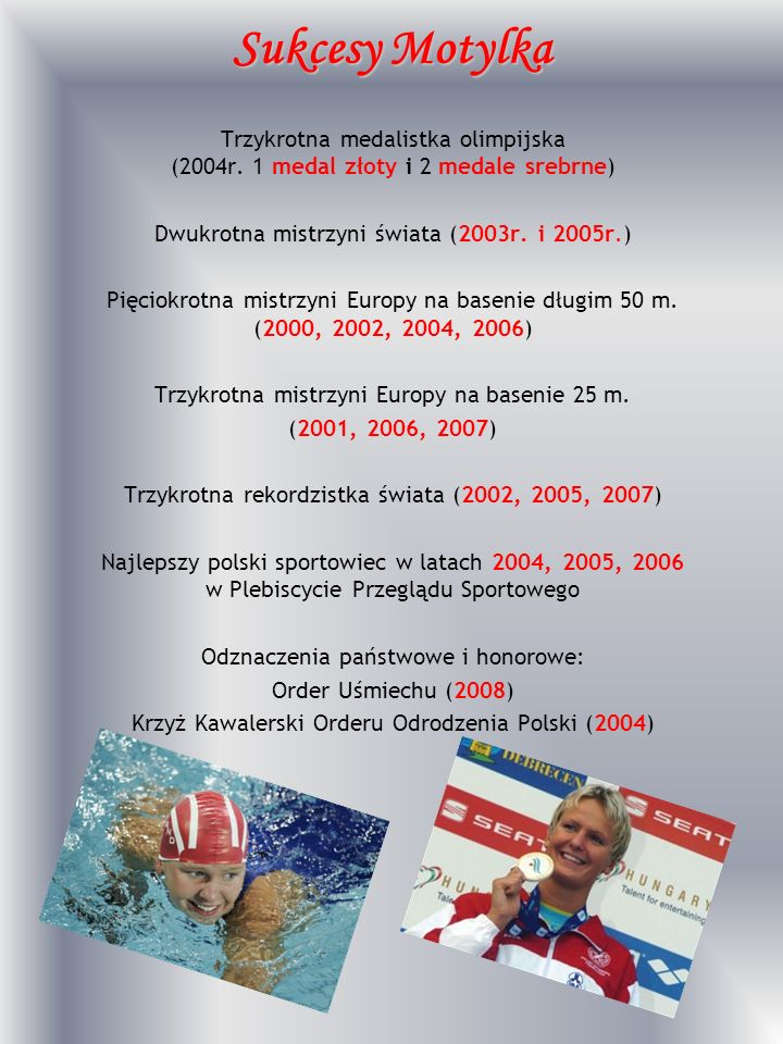 Sukcesy Motylka Trzykrotna medalistka olimpijska (2004r. 1 medal złoty i 2 medale srebrne) Dwukrotna mistrzyni świata (2003r. i 2005r.) Pięciokrotna m