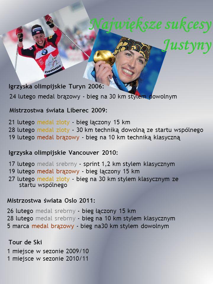 Igrzyska olimpijskie Turyn 2006: 24 lutego medal brązowy - bieg na 30 km stylem dowolnym Największe sukcesy Justyny Mistrzostwa świata Liberec 2009: 2