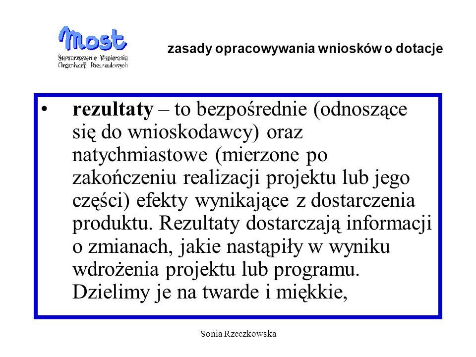 Sonia Rzeczkowska rezultaty – to bezpośrednie (odnoszące się do wnioskodawcy) oraz natychmiastowe (mierzone po zakończeniu realizacji projektu lub jeg