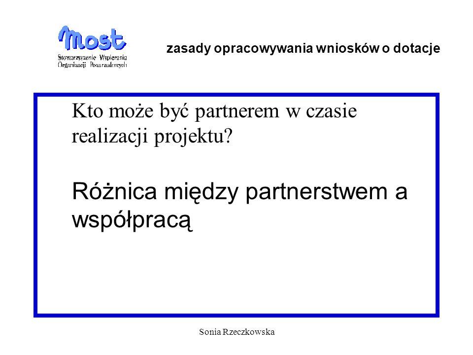 Sonia Rzeczkowska Kto może być partnerem w czasie realizacji projektu? Różnica między partnerstwem a współpracą zasady opracowywania wniosków o dotacj