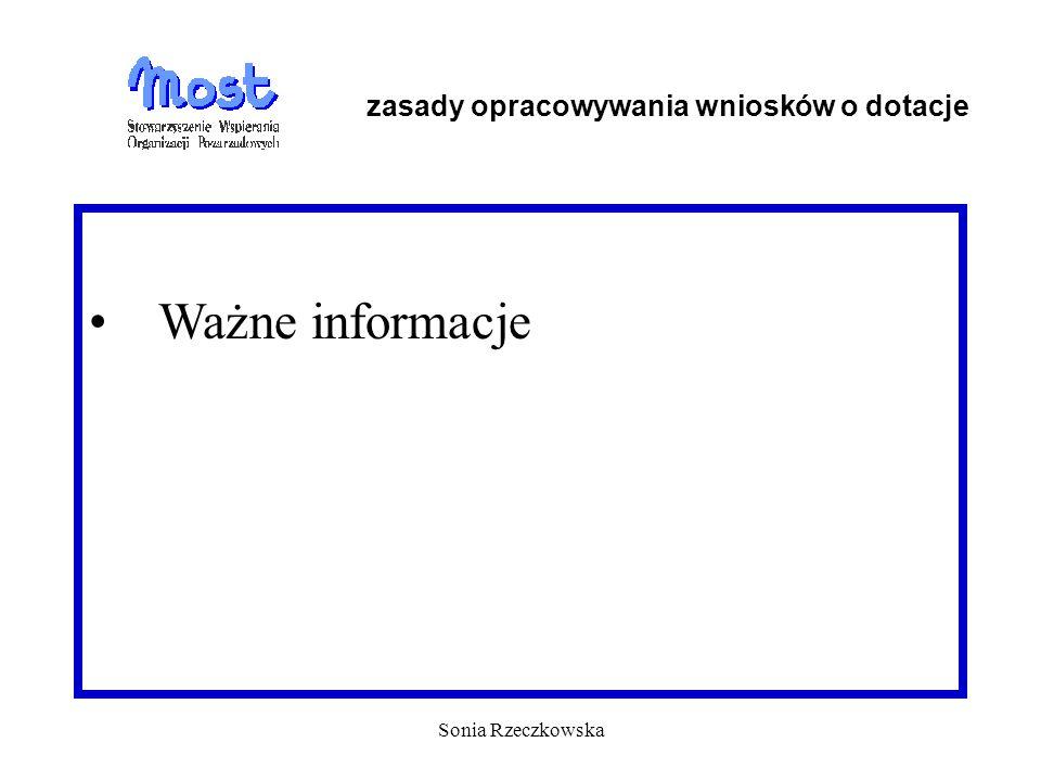 Sonia Rzeczkowska Ważne informacje zasady opracowywania wniosków o dotacje