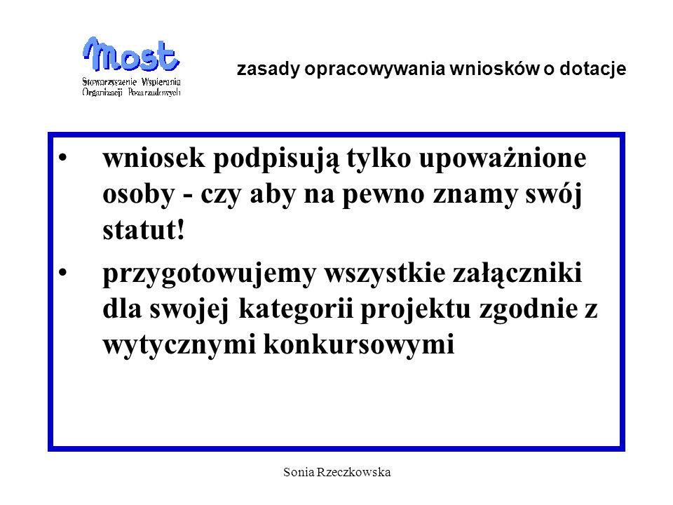 Sonia Rzeczkowska wniosek podpisują tylko upoważnione osoby - czy aby na pewno znamy swój statut! przygotowujemy wszystkie załączniki dla swojej kateg