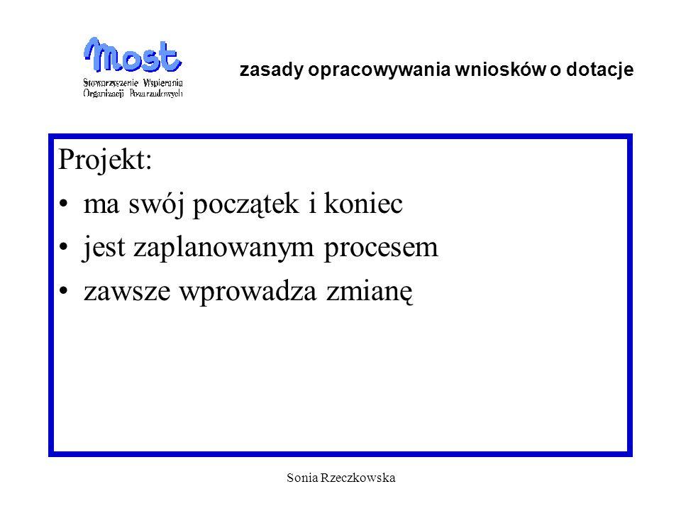 Sonia Rzeczkowska Projekt: ma swój początek i koniec jest zaplanowanym procesem zawsze wprowadza zmianę zasady opracowywania wniosków o dotacje