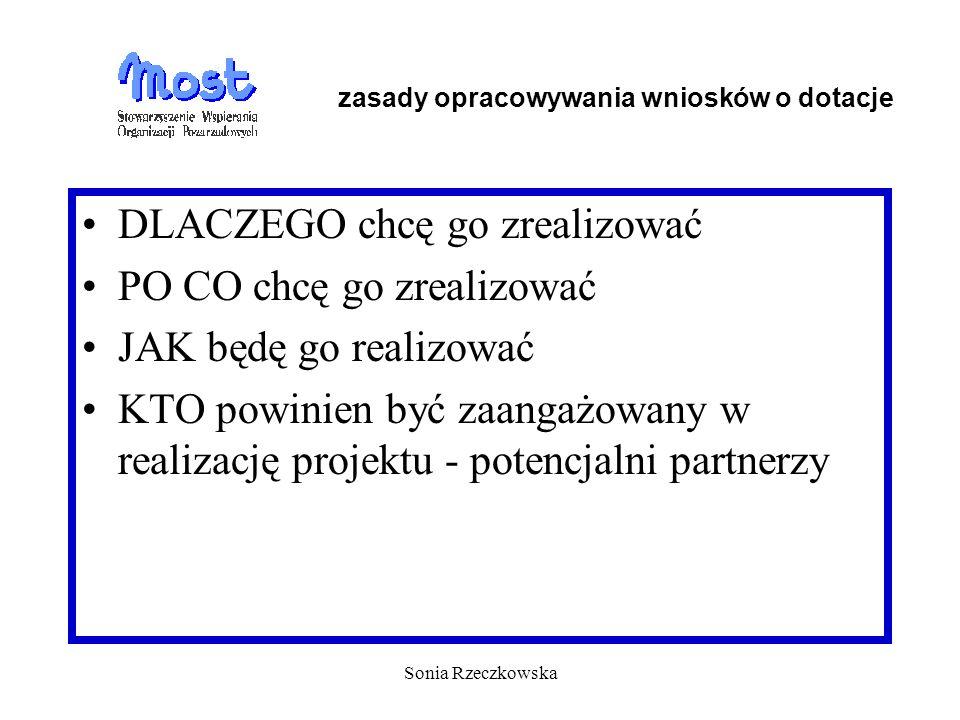 Sonia Rzeczkowska DLACZEGO chcę go zrealizować PO CO chcę go zrealizować JAK będę go realizować KTO powinien być zaangażowany w realizację projektu -