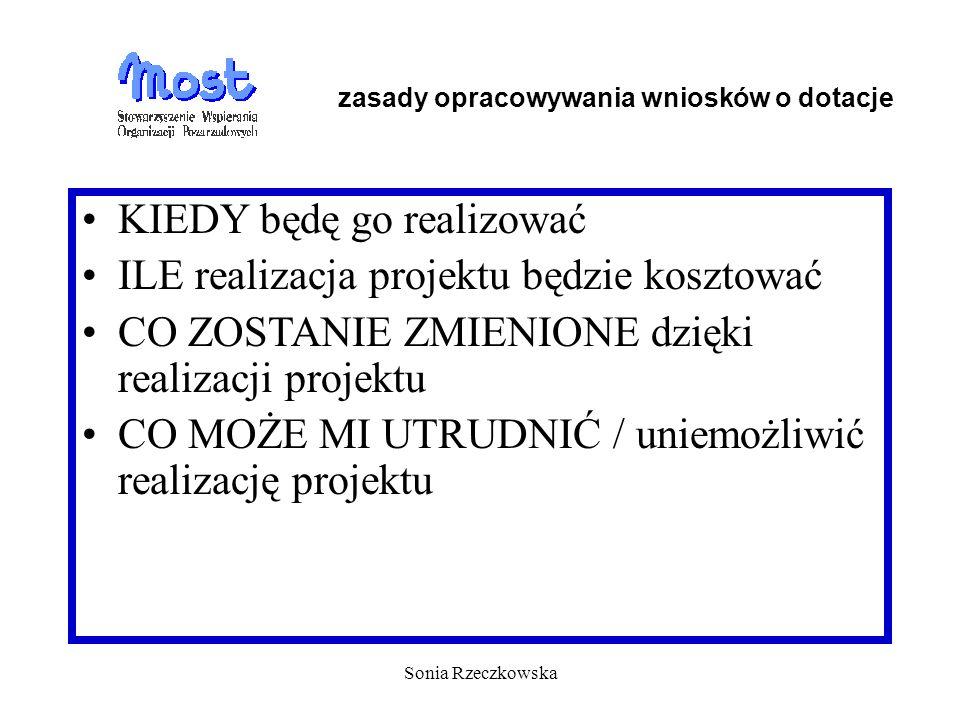 Sonia Rzeczkowska KIEDY będę go realizować ILE realizacja projektu będzie kosztować CO ZOSTANIE ZMIENIONE dzięki realizacji projektu CO MOŻE MI UTRUDN