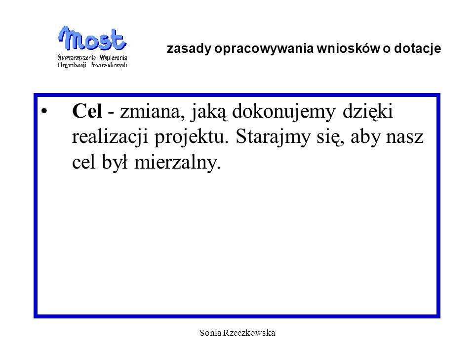 Sonia Rzeczkowska Cel - zmiana, jaką dokonujemy dzięki realizacji projektu. Starajmy się, aby nasz cel był mierzalny. zasady opracowywania wniosków o