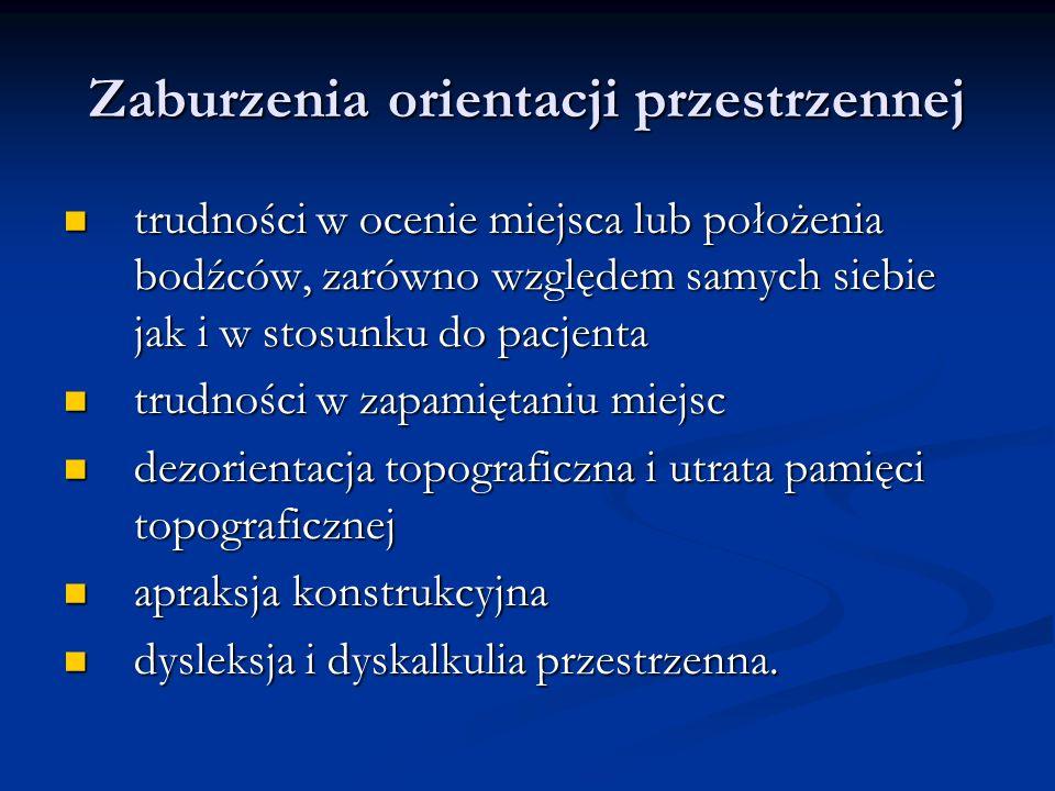 Zaburzenia orientacji przestrzennej trudności w ocenie miejsca lub położenia bodźców, zarówno względem samych siebie jak i w stosunku do pacjenta trud