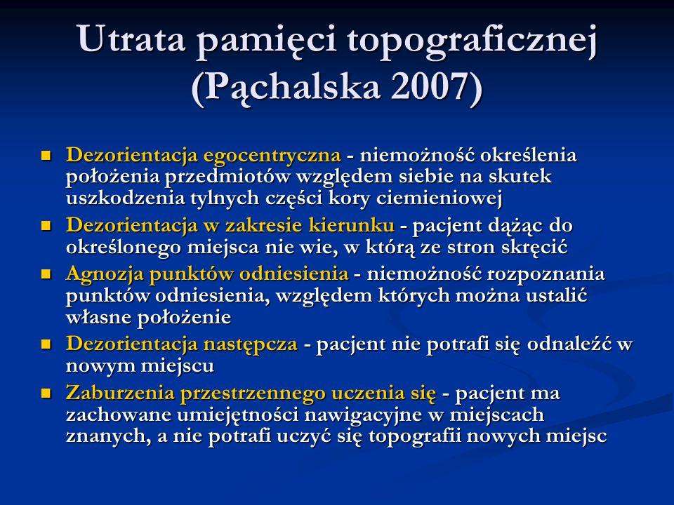 Utrata pamięci topograficznej (Pąchalska 2007) Utrata pamięci topograficznej (Pąchalska 2007) Dezorientacja egocentryczna - niemożność określenia poło