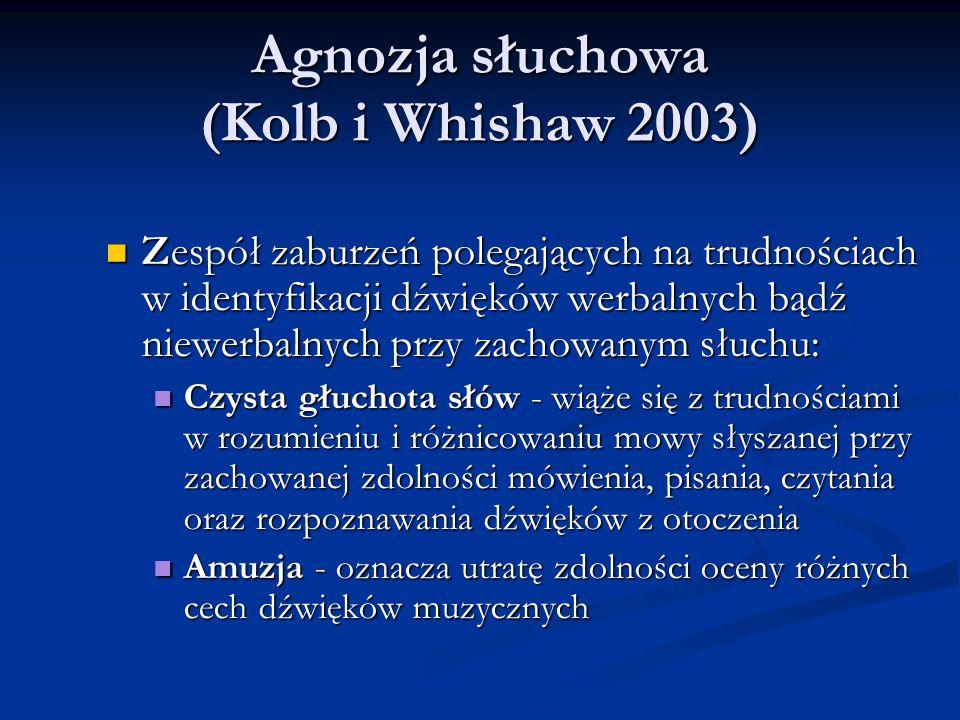 Agnozja słuchowa (Kolb i Whishaw 2003) Agnozja słuchowa (Kolb i Whishaw 2003) Zespół zaburzeń polegających na trudnościach w identyfikacji dźwięków werbalnych bądź niewerbalnych przy zachowanym słuchu: Zespół zaburzeń polegających na trudnościach w identyfikacji dźwięków werbalnych bądź niewerbalnych przy zachowanym słuchu: Czysta głuchota słów - wiąże się z trudnościami w rozumieniu i różnicowaniu mowy słyszanej przy zachowanej zdolności mówienia, pisania, czytania oraz rozpoznawania dźwięków z otoczenia Czysta głuchota słów - wiąże się z trudnościami w rozumieniu i różnicowaniu mowy słyszanej przy zachowanej zdolności mówienia, pisania, czytania oraz rozpoznawania dźwięków z otoczenia Amuzja - oznacza utratę zdolności oceny różnych cech dźwięków muzycznych Amuzja - oznacza utratę zdolności oceny różnych cech dźwięków muzycznych