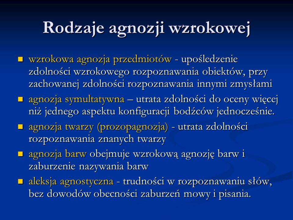 Rodzaje agnozji wzrokowej wzrokowa agnozja przedmiotów - upośledzenie zdolności wzrokowego rozpoznawania obiektów, przy zachowanej zdolności rozpoznaw