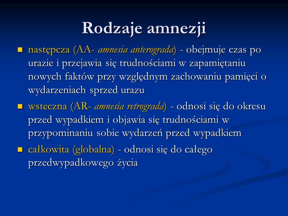 następcza (AA- amnesia anterograda) - obejmuje czas po urazie i przejawia się trudnościami w zapamiętaniu nowych faktów przy względnym zachowaniu pami