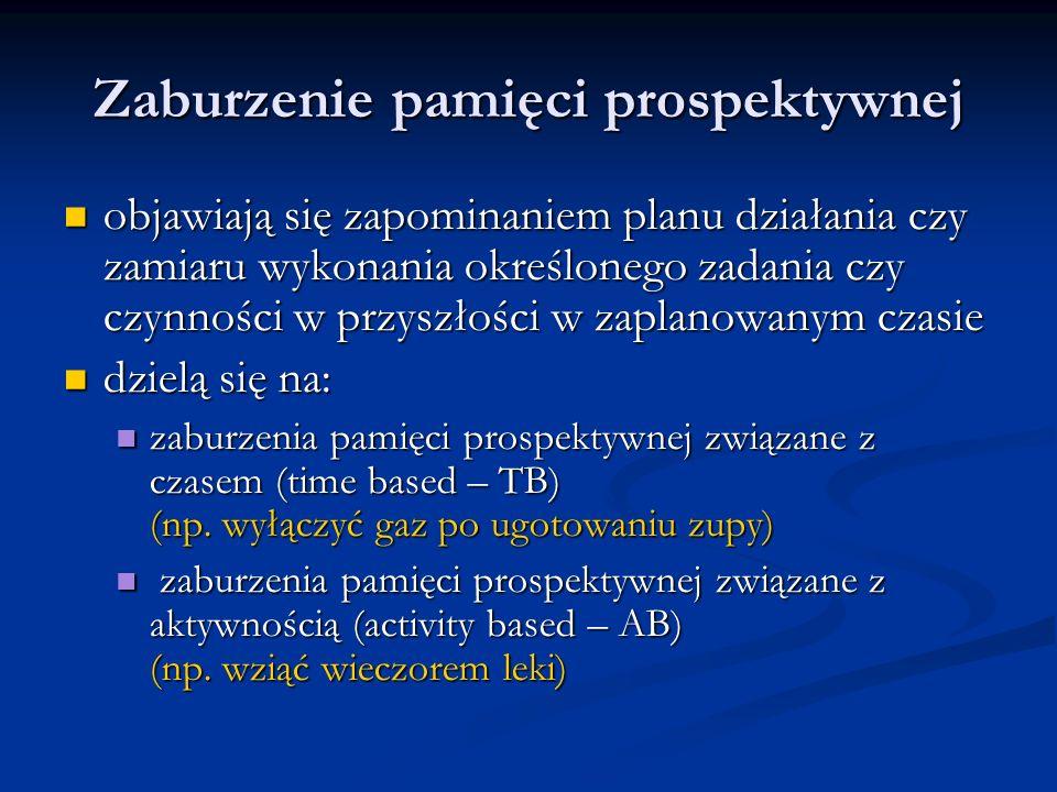 Zaburzenie pamięci prospektywnej objawiają się zapominaniem planu działania czy zamiaru wykonania określonego zadania czy czynności w przyszłości w zaplanowanym czasie objawiają się zapominaniem planu działania czy zamiaru wykonania określonego zadania czy czynności w przyszłości w zaplanowanym czasie dzielą się na: dzielą się na: zaburzenia pamięci prospektywnej związane z czasem (time based – TB) (np.