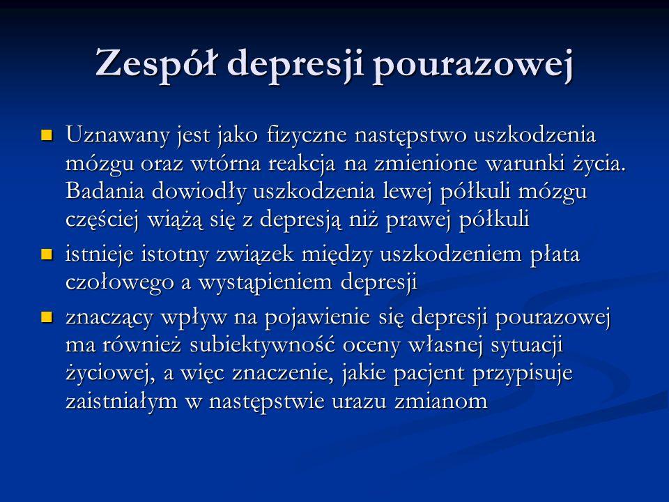 Zespół depresji pourazowej Uznawany jest jako fizyczne następstwo uszkodzenia mózgu oraz wtórna reakcja na zmienione warunki życia. Badania dowiodły u