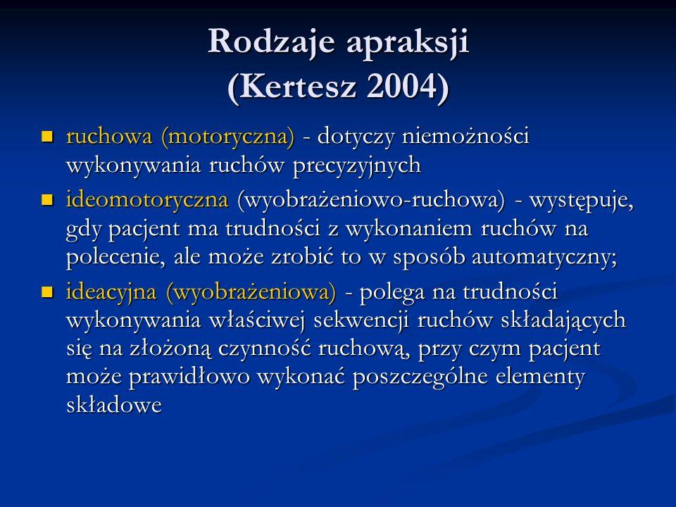 Rodzaje apraksji (Kertesz 2004) ruchowa (motoryczna) - dotyczy niemożności wykonywania ruchów precyzyjnych ruchowa (motoryczna) - dotyczy niemożności