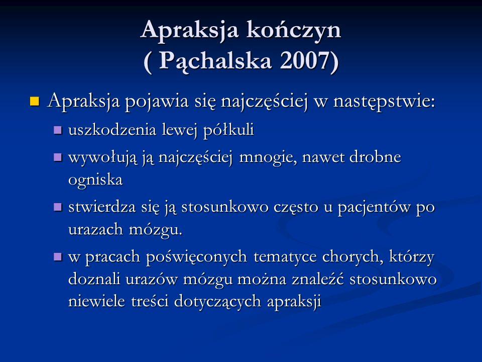 Apraksja kończyn ( Pąchalska 2007) Apraksja kończyn ( Pąchalska 2007) Apraksja pojawia się najczęściej w następstwie: Apraksja pojawia się najczęściej