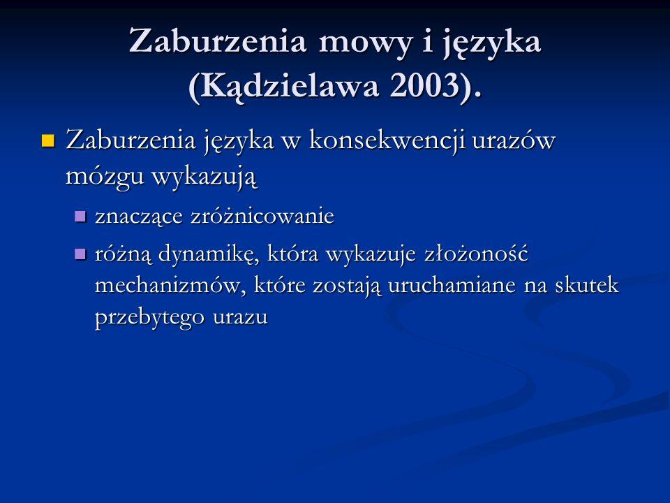 Zaburzenia mowy i języka (Kądzielawa 2003). Zaburzenia języka w konsekwencji urazów mózgu wykazują Zaburzenia języka w konsekwencji urazów mózgu wykaz