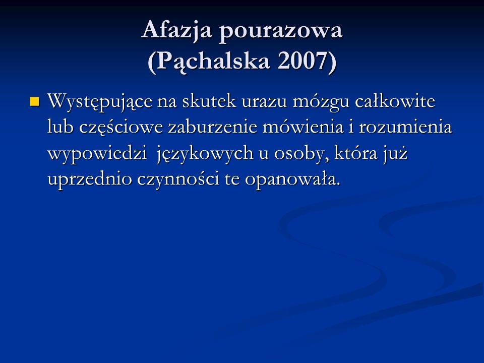 Afazja pourazowa (Pąchalska 2007) Afazja pourazowa (Pąchalska 2007) Występujące na skutek urazu mózgu całkowite lub częściowe zaburzenie mówienia i rozumienia wypowiedzi językowych u osoby, która już uprzednio czynności te opanowała.