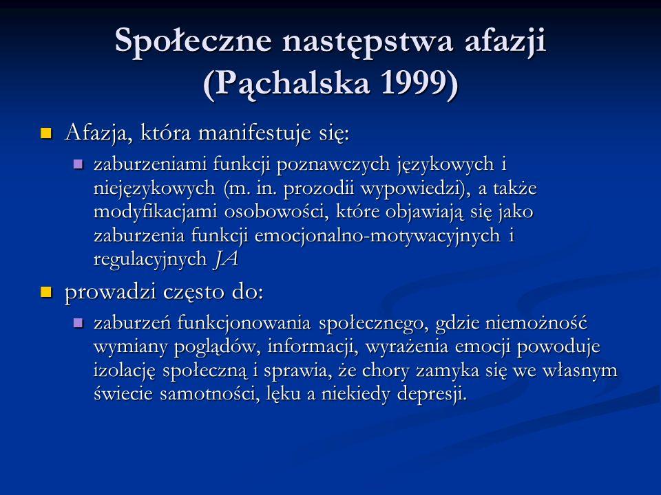 Społeczne następstwa afazji (Pąchalska 1999) Społeczne następstwa afazji (Pąchalska 1999) Afazja, która manifestuje się: Afazja, która manifestuje się: zaburzeniami funkcji poznawczych językowych i niejęzykowych (m.