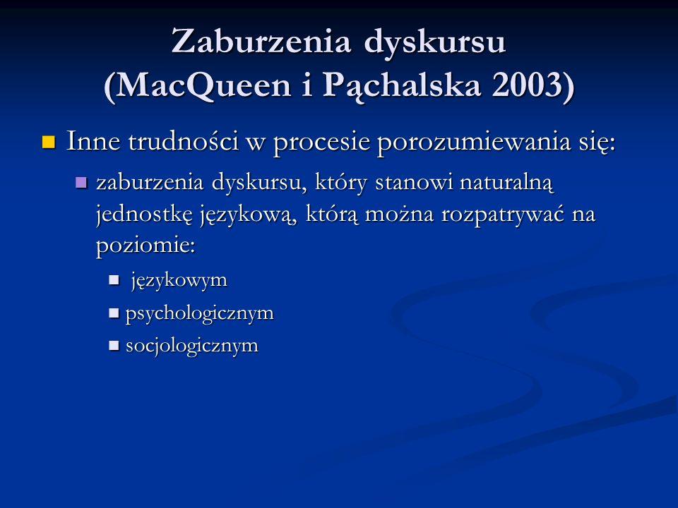 Zaburzenia dyskursu (MacQueen i Pąchalska 2003) Zaburzenia dyskursu (MacQueen i Pąchalska 2003) Inne trudności w procesie porozumiewania się: Inne trudności w procesie porozumiewania się: zaburzenia dyskursu, który stanowi naturalną jednostkę językową, którą można rozpatrywać na poziomie: zaburzenia dyskursu, który stanowi naturalną jednostkę językową, którą można rozpatrywać na poziomie: językowym językowym psychologicznym psychologicznym socjologicznym socjologicznym