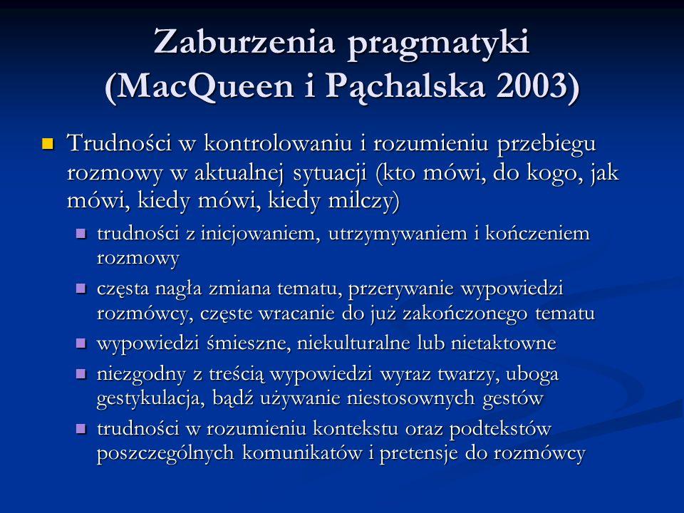 Zaburzenia pragmatyki (MacQueen i Pąchalska 2003) Zaburzenia pragmatyki (MacQueen i Pąchalska 2003) Trudności w kontrolowaniu i rozumieniu przebiegu rozmowy w aktualnej sytuacji (kto mówi, do kogo, jak mówi, kiedy mówi, kiedy milczy) Trudności w kontrolowaniu i rozumieniu przebiegu rozmowy w aktualnej sytuacji (kto mówi, do kogo, jak mówi, kiedy mówi, kiedy milczy) trudności z inicjowaniem, utrzymywaniem i kończeniem rozmowy trudności z inicjowaniem, utrzymywaniem i kończeniem rozmowy częsta nagła zmiana tematu, przerywanie wypowiedzi rozmówcy, częste wracanie do już zakończonego tematu częsta nagła zmiana tematu, przerywanie wypowiedzi rozmówcy, częste wracanie do już zakończonego tematu wypowiedzi śmieszne, niekulturalne lub nietaktowne wypowiedzi śmieszne, niekulturalne lub nietaktowne niezgodny z treścią wypowiedzi wyraz twarzy, uboga gestykulacja, bądź używanie niestosownych gestów niezgodny z treścią wypowiedzi wyraz twarzy, uboga gestykulacja, bądź używanie niestosownych gestów trudności w rozumieniu kontekstu oraz podtekstów poszczególnych komunikatów i pretensje do rozmówcy trudności w rozumieniu kontekstu oraz podtekstów poszczególnych komunikatów i pretensje do rozmówcy